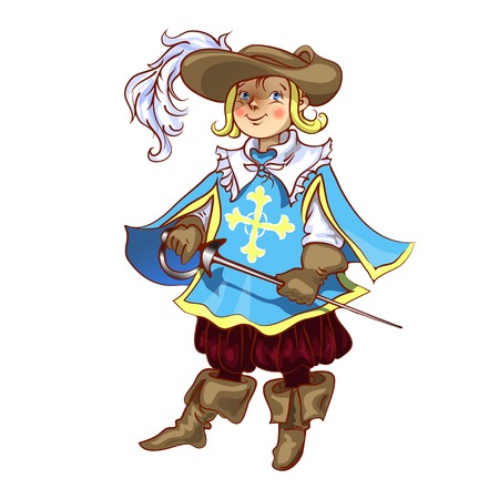 Boy dressed as musketeer for Christmas  vector Vector