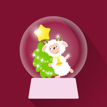 christmas snow globe: Vector illustration of Christmas Snow globe with sheep