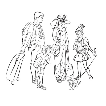 scetch: Tour group, tourists scetch