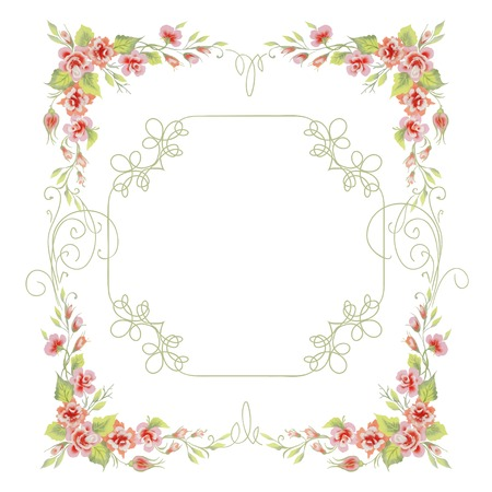vintage frame with roses and creeping plant Illustration