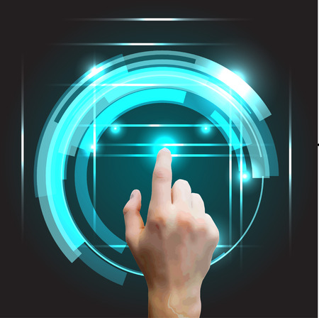 hi fi system: Users hand selecting concept background with futuristic blue virtual graphic vector illustration Illustration