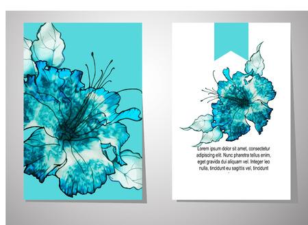 wedding invitation card suite with batik flower Templates