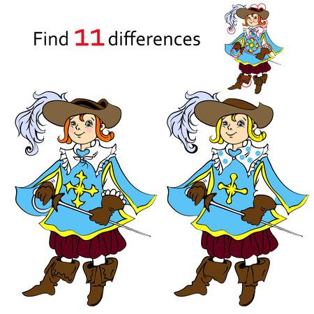 mosquetero: Encuentra 11 diferencias mosquetero y ilustraciones de dibujos animados Vectores