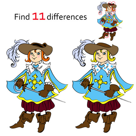 musketeer: Find 11 differences musketeer and cartoon illustrations