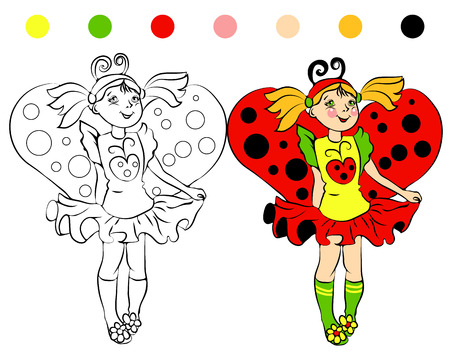 coloring page girl in costume Ladybug and cartoon illustrations Vector