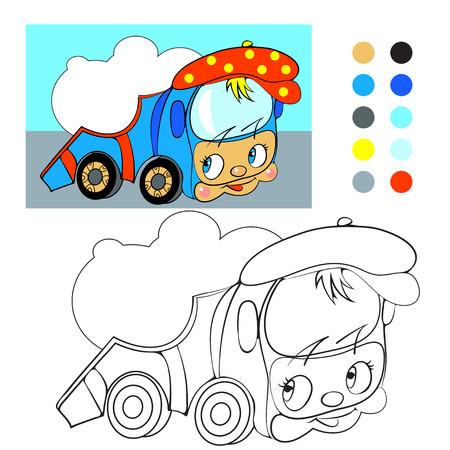 autotruck: Coloring book. Cartoon funny car truck.  Illustration