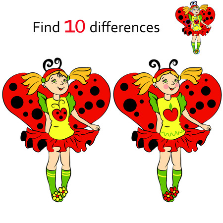 difference: Find 10 differences girl in costume Ladybug and cartoon illustrations