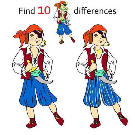 mosquetero: Encontrar diez diferencias pirata y ilustraciones de dibujos animados Vectores
