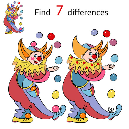 circus caravan: illustration, clowns playing, find the differences between images, cartoon concept.