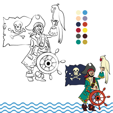 illustration coloring page of happy cartoon Pirate with a parrot on his shoulder for children and scrap book Vector