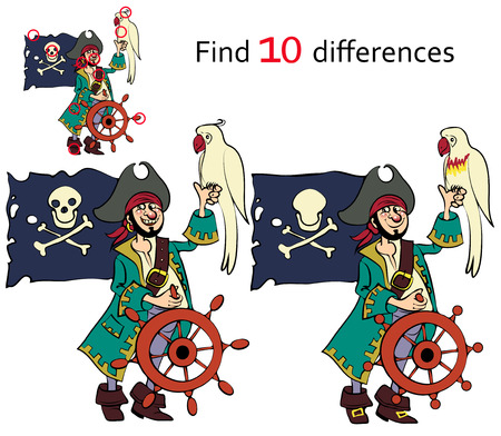 Find ten differences  pirate and cartoon illustrations Vector