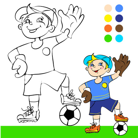 illustration soccer player cartoon concept coloring book Vector