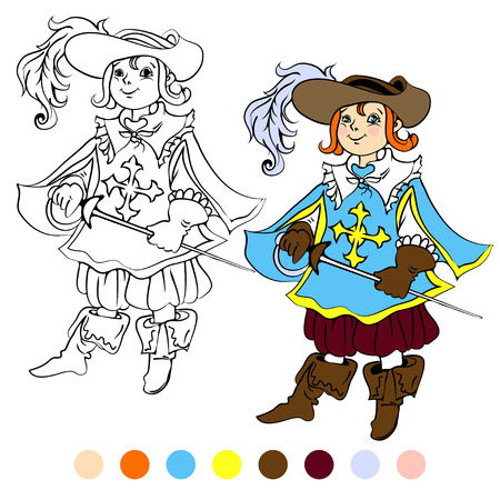 musketeer: Coloring book kids play musketeer illustration. Illustration