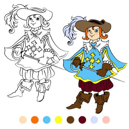 mosquetero: Ni�os libros para colorear juegan ilustraci�n mosquetero.