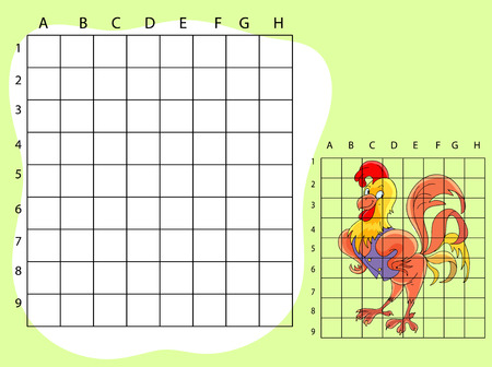 funny farm: Draw on the squares. A cute cartoone illustration of funny farm cock