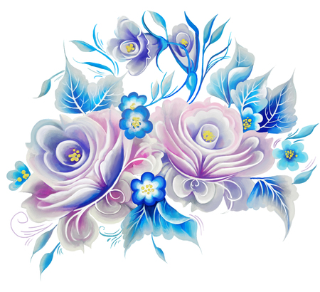 wallpaper flower: Flowers rose one stroke painting Stock Photo