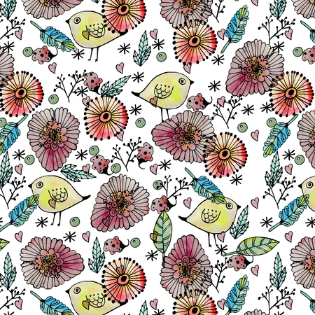 wrapper: Seamless pattern watercolor flowers, paper, textile, fabric, wrapper, wallpaper,