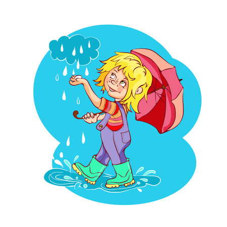 baile caricatura: niño de la historieta que juega en la lluvia. Ilustración del vector. Todo en una sola capa.