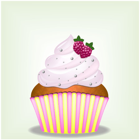 raspberry pink: Delicious dessert - Cupcake with pink cream and raspberries