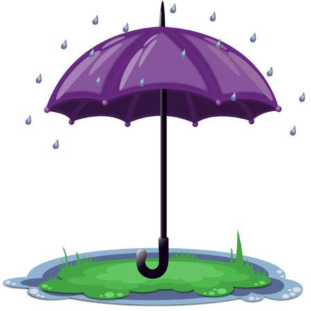 days: Big opened purple umbrella in the rain on the grass - eps10 vector cartoon illustration
