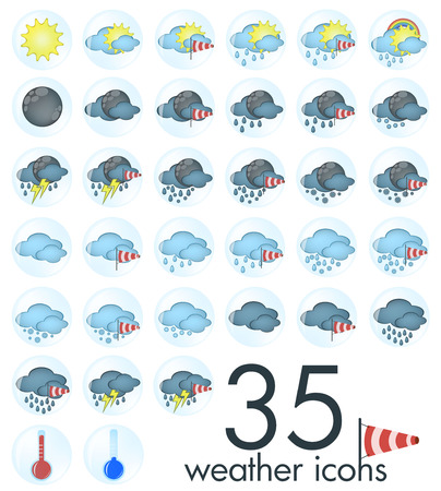 eps10 vector: Weather icons - 35 different weathers plus thermometeres - eps10 vector illustration