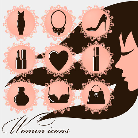 Women icons - 9 round pretty women icons with lace - eps10 vector illustration Illusztráció