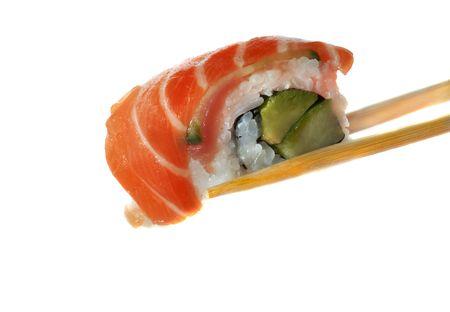 Sushi with chopsticks shot on white Stock Photo - 867434