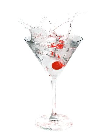 stirred: A cocktail drink with an cherry splash Stock Photo