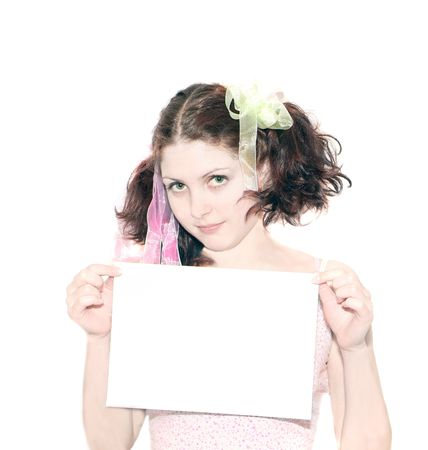 girl with note card Stock Photo - 874142