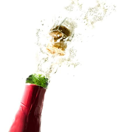 Close-up of explosion of champagne bottle cork Stock Photo - 903716
