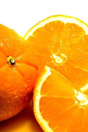 florida citrus: Background of juicy fresh sliced oranges Stock Photo