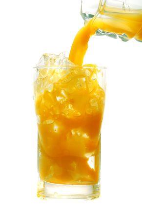pouring fresh orange juice  on a white background