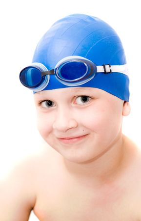 young swimmer. Isolation on white. Stock Photo - 1018341