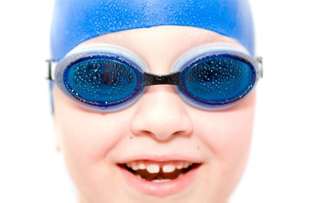 bathers: young swimmer. Isolation on white.