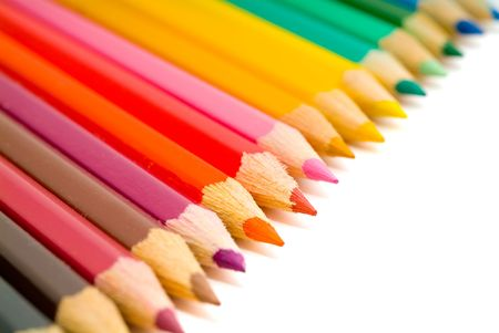 coloured pencils with shadow on white background Stock Photo - 1125618