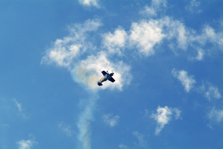 piloting: plane on a background of the sky