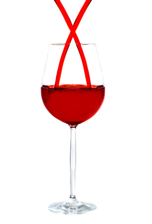 Wine poured in a glass. Isolation on white Stock Photo - 1685790