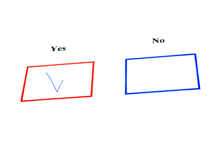 tickbox: Yes or no tickbox with red yes tick Stock Photo