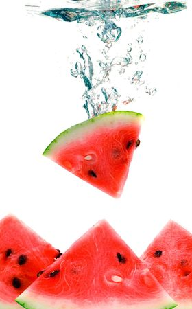 watermelon are falling in water with a big splash Stock Photo - 1851971