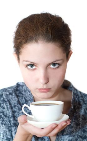 severity: girl with a cup of tea in hands. Stock Photo
