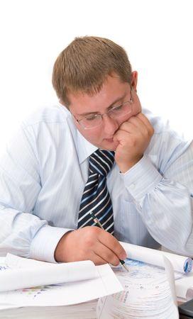 tabulation: The businessman. Isolation on white.