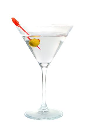 bartend: Cocktail from martinis. Isolation on white