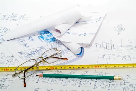 bluelines: Business accessories on a background of diagrams. Stock Photo