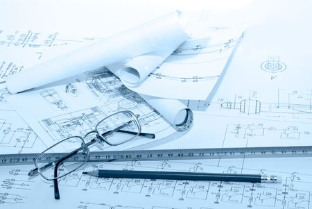 Business accessories on a background of diagrams. photo