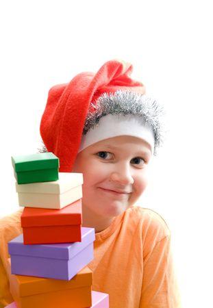 Christmas. Santa hat on  child photo