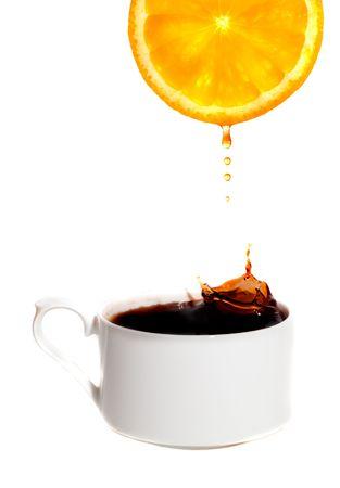 Tea with a lemon. Isolation on white photo