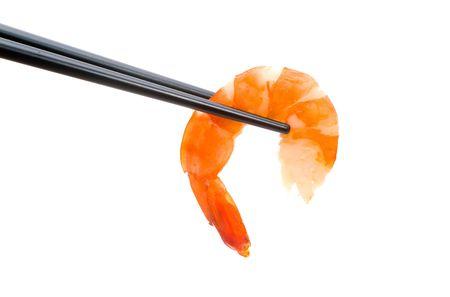 crusted: Sushi with chopsticks shot on white