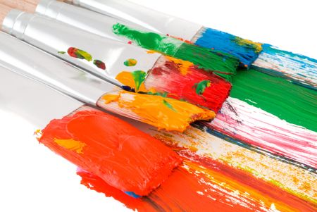broom handle: Brushes with paints. Isolation on white