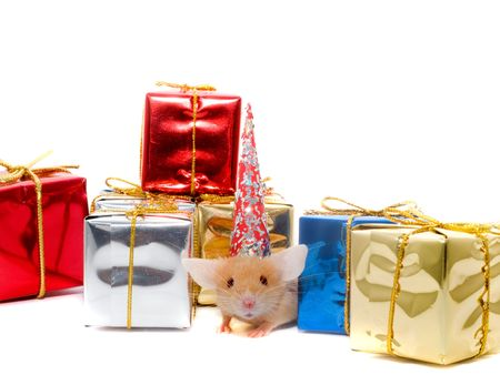 Boxes of gifts and a mousy in a cap. Isolation on white.  photo