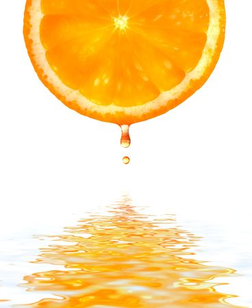 Orange with a drop. Isolation on white